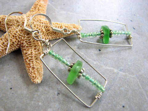 Geometric,Rectangle,Beach,Glass,Earrings,green beach glass dangle earrings, beach jewelry, geometric earrings, hand crafted, green sea glass dangles, green seaglass earrings, modern earrings, urban earrings, silver filled wire earrings, rectangle hoop earrings