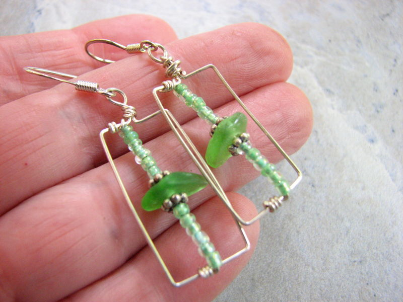 Geometric Rectangle Beach Glass Earrings - product images  of