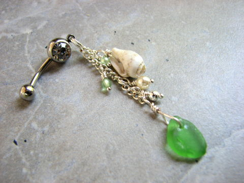 Long,Sea,Glass,and,Shell,Belly,Button,Ring,long belly button ring, sea glass belly button ring, sea shell belly button ring, shell belly ring, seaglass belly ring, sea glass navel ring, sea glass belly button jewelry, dangle, dangly belly ring, green sea glass belly jewelry, beach glass belly butt