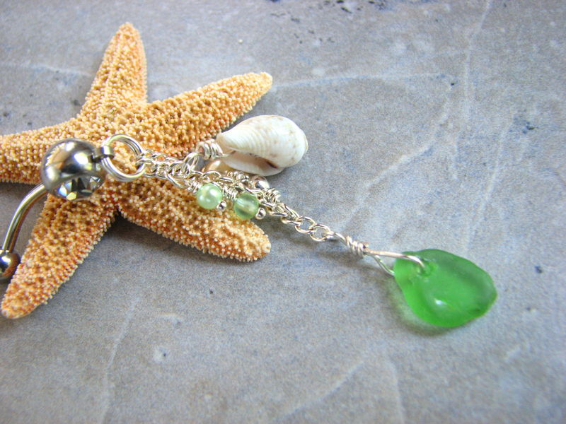 Long Sea Glass and Shell Belly Button Ring - product images  of