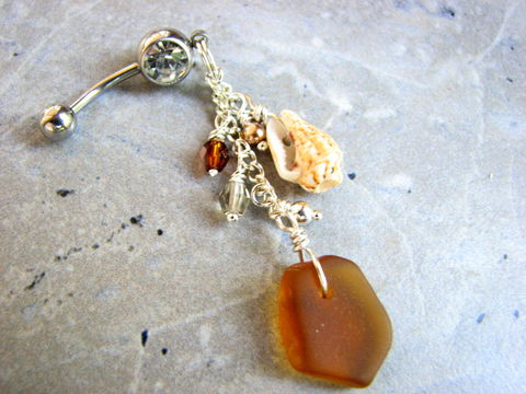 Honey,Brown,Seaglass,Long,Dangle,Belly,Ring,sea glass belly ring, belly button ring, bellybutton ring, navel ring, navel piercing, ocean jewelry, nautical belly button ring, seaside, resort jewelry, vacation jewelry beach belly ring, seaglass belly ring, dangle belly ring, honey brown, beach glass