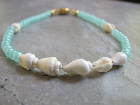 Pearled,Aqua,Blue,Anklet,with,Natural,Seashells,aqua blue anklet, sea shell anklet, pale blue, light blue, shell ankle bracelet, gold clasp,  custom sizes, beach ankle bracelet, blue coastal jewelry, blue beaded anklet, bead ankle bracelet, handmade, crafted, unique, rustic, lightweight