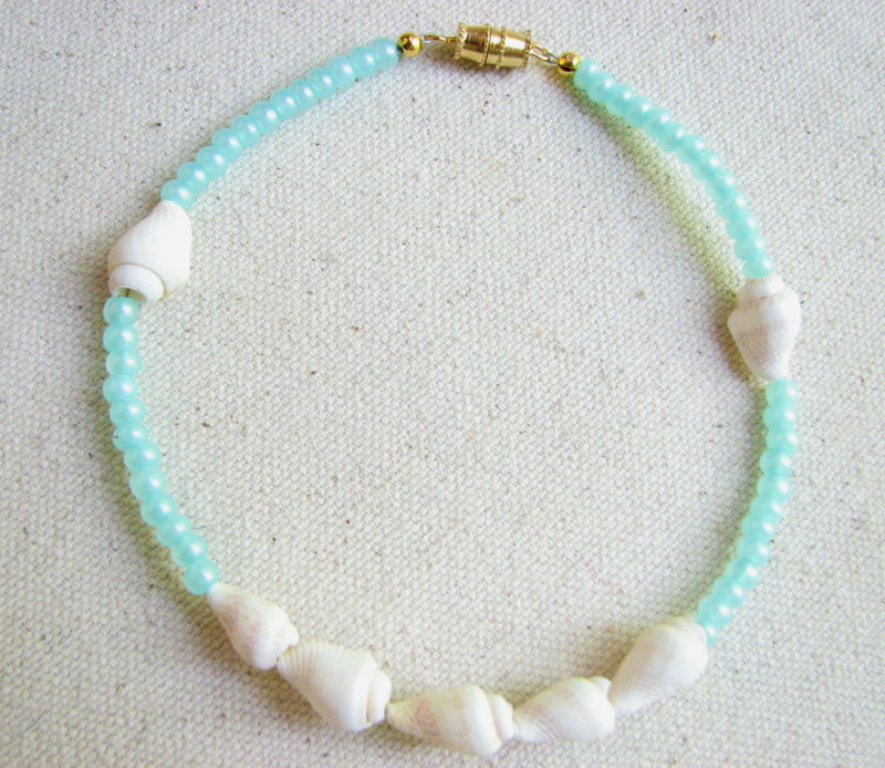 Pearled Aqua Blue Anklet with Natural Seashells - product images  of