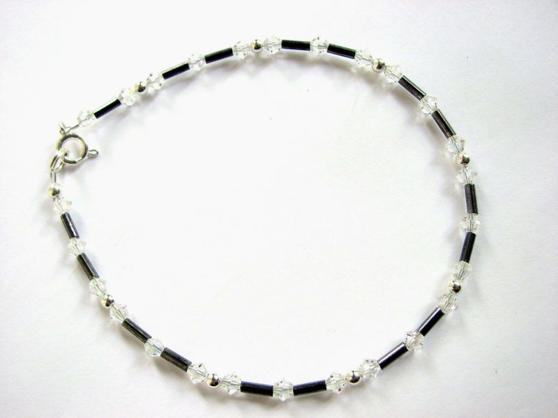 Dainty Crystal Anklet in Steel Grey and Sparkling Presiosa Beads - product images  of