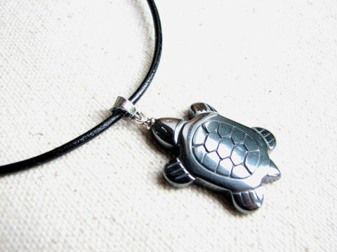 Hematite,Turtle,Necklace,for,Men,or,Women,hematite necklace, turtle necklace, hematite turtle, necklace for men, unisex necklace, stone necklace, stone turtle, hemitite necklace