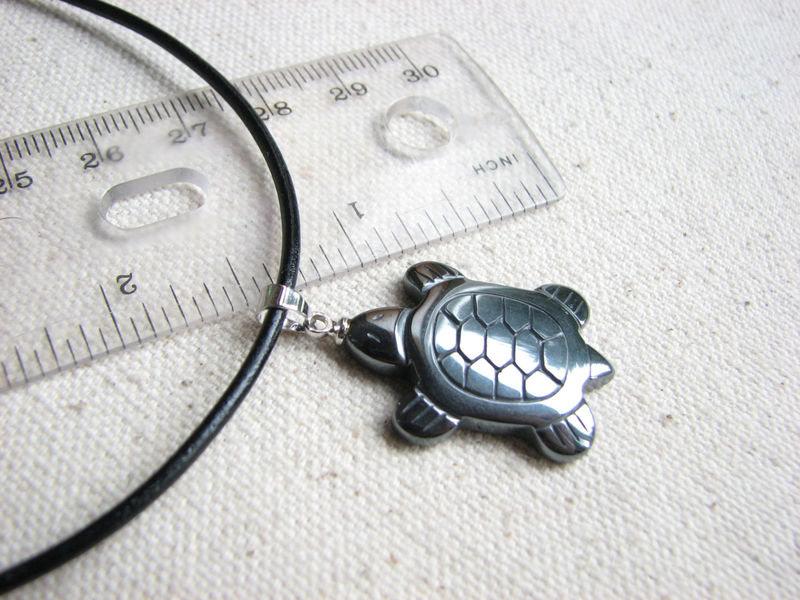 Hematite Turtle Necklace for Men or Women - product images  of