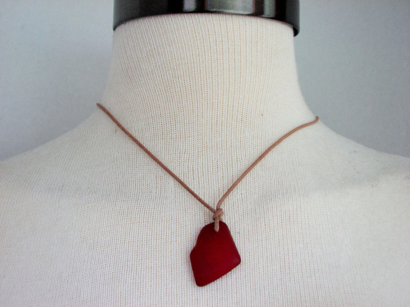 Red Sea Glass Pendant on Leather Necklace, Unisex - product images  of