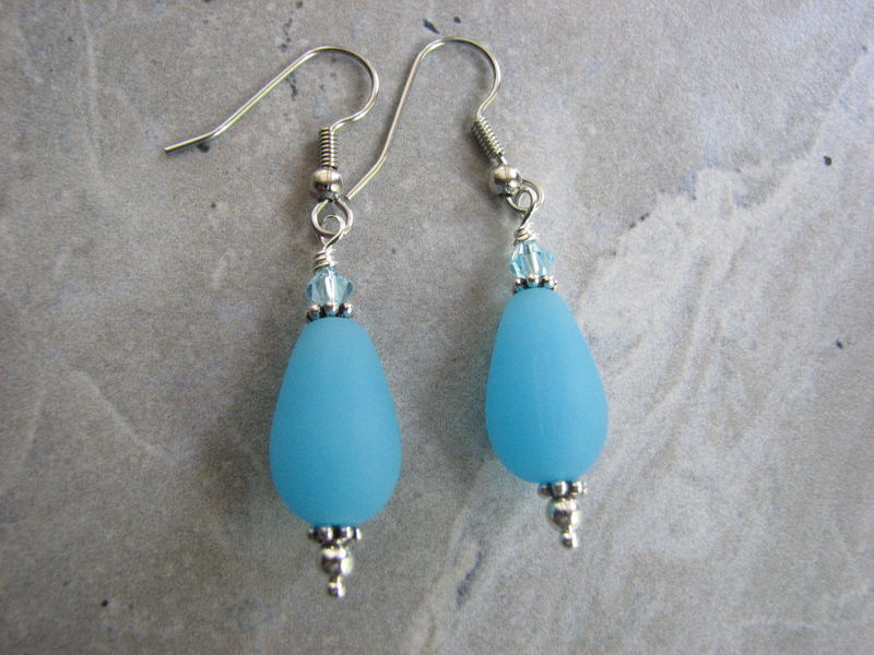 Ice Blue Frosted Glass Teardrop Dangle Earrings with Crystals - product images  of