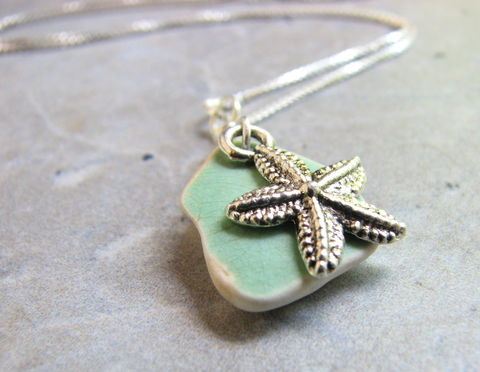 Starfish,Necklace,with,Mint,Green,Sea,Pottery,starfish necklace, sea pottery necklace, sea glass necklace, ocean pottery jewelry, mint green seaglass, green pottery necklace, sterling silver sea glass jewelry, starfish charm, charm necklace, small pendant, starfish pendant, ceramic sea glass jewelry