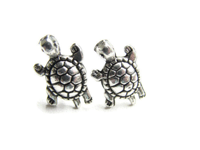 Silver Turtle Stud Earrings - product images  of