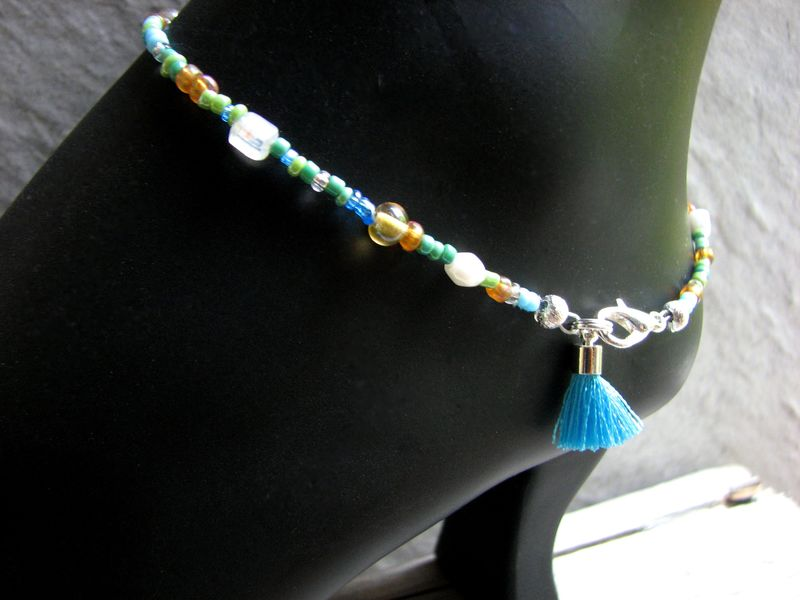 Sea and Sand Tassel Ankle Bracelet, Multi-color Beaded Anklet - product images  of