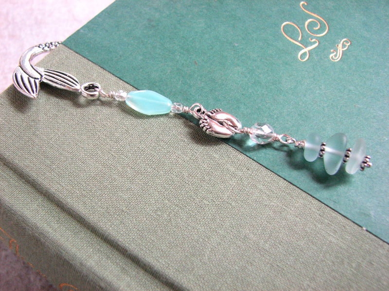 Sea Glass Mermaid Bookmark in Seafoam Green - product images  of