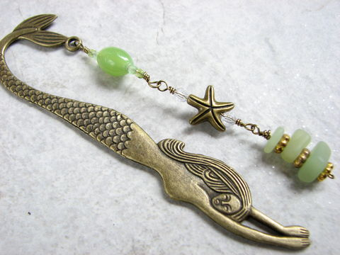 Antiqued,Brass,Beaded,Mermaid,Bookmark,pale green, light green, mint green, beach bookmark, antiqued brass bookmark,  mermaid, bookmark, book mark, starfish book accessory, mermaid gift, sea star bookmark, book lover gift, readers gift, teacher gift, christmas present for girls, stocking stuff