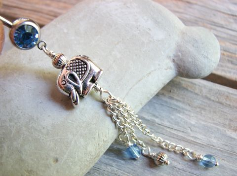 Elephant,Belly,Ring,-,Blue,and,Silver,Dangle,elephant belly ring, elephant belly button ring, elephant navel ring, elephant body jewelry, navel piercing, belly piercing, belly button jewelry, long dangle belly ring, piercings, body jewelry silver and blue, wire wrapped, chain dangles