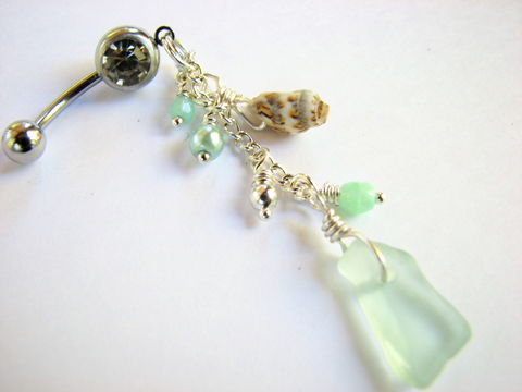 Long,Belly,Button,Ring,Jewelry,-,Seafoam,Green,Sea,Glass,and,Shell,Dangle,long belly button ring, dangle belly ring, long belly button jewelry, sea glass belly rings, sea glass and shell belly, seafoam green sea glass, sea glass body jewelry, sea glass navel piercing, seaglass, beach glass, genuine sea glass bellybutton ring