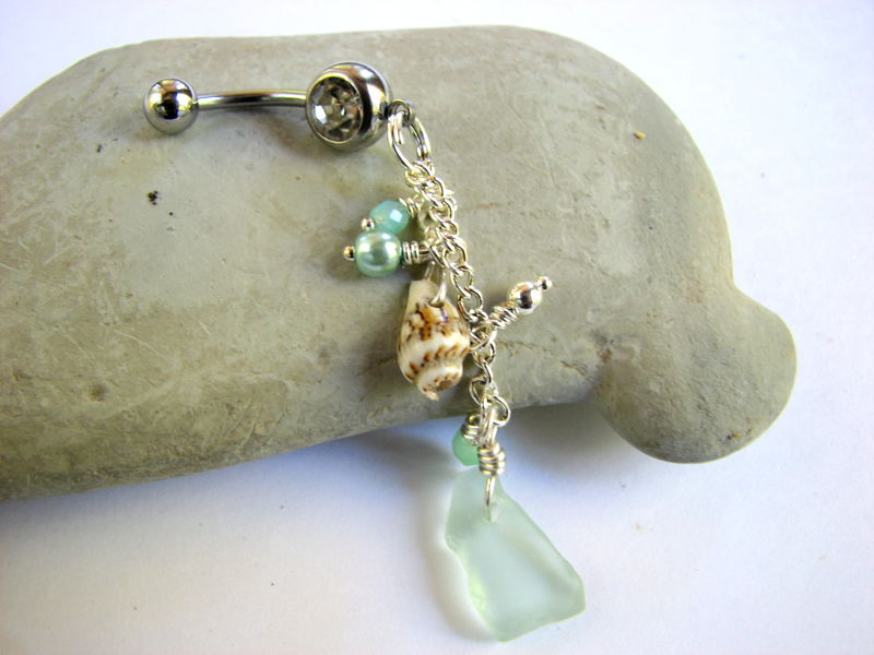 Long Belly Button Ring Jewelry - Seafoam Green Sea Glass and Shell Dangle - product images  of