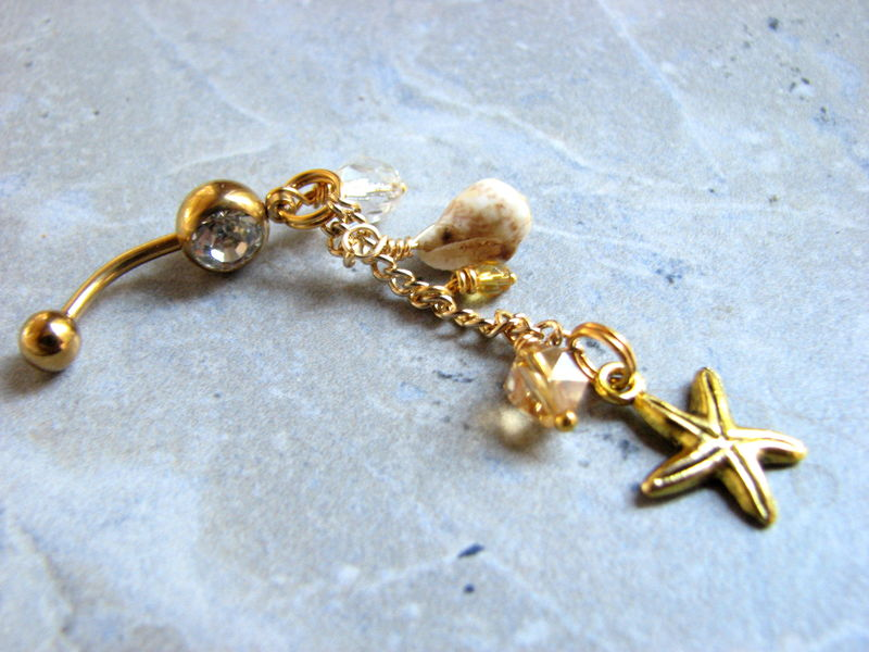 Dangling Gold Titanium Beach Belly Button Ring with Starfish - product images  of