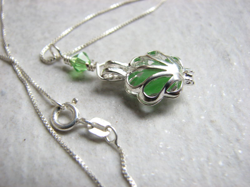Sea glass locket necklace - filigree locket pendant with green glass - product images  of