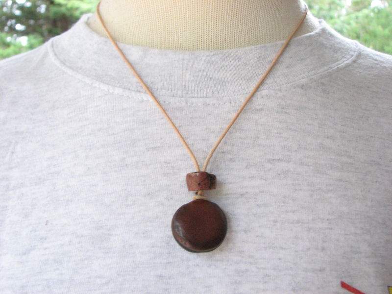 Natural Sea Bean and Stone Leather Necklace - product images  of