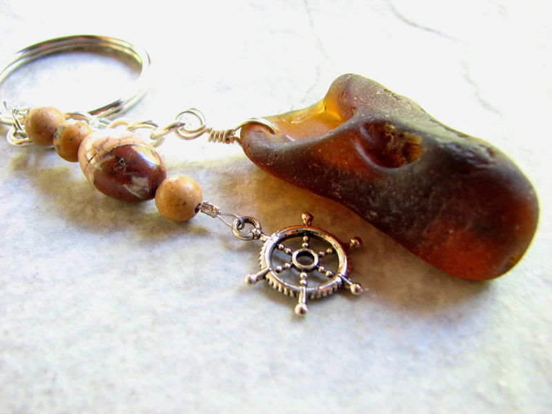 Bonfire Sea Glass Key Chain with Stones and Captains Wheel Charm - product images  of