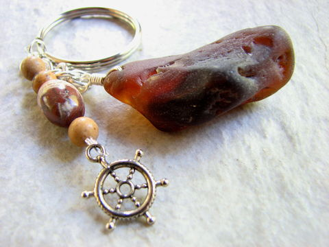 Bonfire,Sea,Glass,Key,Chain,with,Stones,and,Captains,Wheel,Charm,bonfire glass, sea glass, amber sea glass, brown beach glass, burned sea glass, sea glass key chain, beach glass keychain, seaglass key ring, stone keyring, captains wheel charm, mens beach gift, unique mens gift, what is bonfire glass, mans key fob, mens