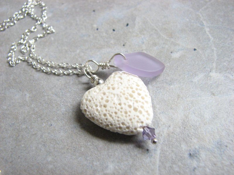 Valentine Lava Heart Diffuser Necklace with Seaglass - product images  of