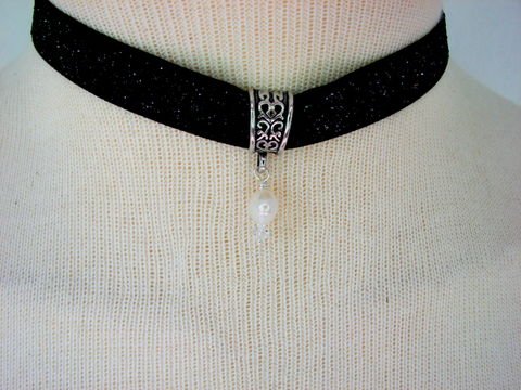 Sparkly,Black,Pearl,Choker,Necklace, ribbon, sparkle, choker, necklace, beach, fresh water pearl, wire wrapped, hand made jewelry, womens, girls, 5/8 inch black ribbon choker,