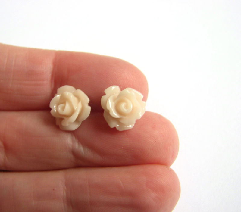 Small Peach Flower Stud Earrings for Spring  - product images  of
