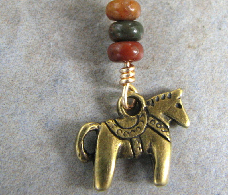 Gold Titanium Belly Button Rings with Dala Horse and Jasper Beads - product images  of