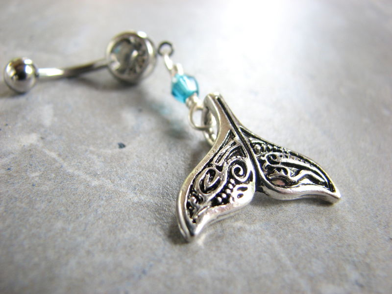 Fancy Silver Whale Tail Belly Button Piercing - product images  of
