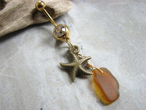 Sea,Glass,and,Starfish,Gold,Titanium,Belly,Button,Ring,1.5,inches,Long,Gold anodized Titanium Belly Bar, long belly button ring, Gold bellybutton piercing, gold starfish, dangly belly ring, belly button jewelry, sea glass and starfish, belly rings, seaglass, earth tone body jewelry, beach glass navel piercing, genuine authen