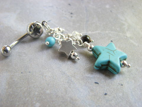 Turquoise,Star,Belly,Button,Piercing,,1.75,inch,Long,Beaded,Ring,turquoise star, star belly button piercing, star belly ring, star jewelry, long dangle belly, 1.75 inches long, beaded belly rings, fancy navel rings, decorated, hand made, starfish navel rings, star body jewelry, turquoise blue belly rings, silver stainl