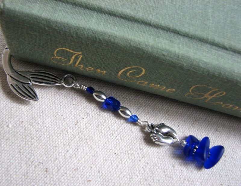 Cobalt Blue Seaglass Beaded Mermaid Bookmark with Bare Foot Charm - product images  of