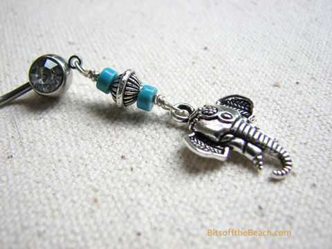 Long,Tribal,Elephant,Belly,Button,Piercing,with,Turquoise,tribal elephant, elephant belly, elephant navel, long bellyring, long belly piercing, dangle elephant belly, silver elephant, beaded long belly, stainless steel belly button rings, hand crafted, turquoise belly button jewelry, navel ring, navel piercings