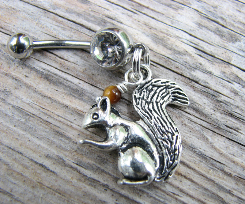Squirrel Belly Button Piercing with Brown Tiger's Eye Nut - product images  of