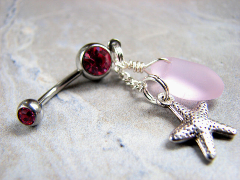Starfish Belly Ring with Pink Sea Glass, Ocean Body Jewelry - product images  of