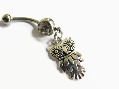 Owl,,Stainless,Steel,Belly,Rings,owl belly ring, small animal belly, forest bird belly, small dangle, stainless steel, surgical steel, owl belly button rings, bellybutton, cute belly rings, belly button jewelry, animal navel rings,  body piercing jewelry, woods animal