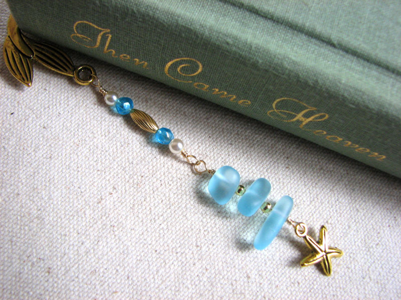 Gold Mermaid Bookmark, Beaded Aqua Sea Glass and Starfish  - product images  of