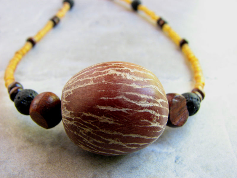 Betel Nut Palm Seed Necklace, Tropical Nature Jewelry - product images  of
