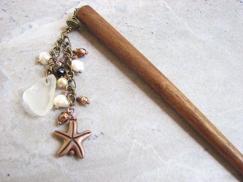 Beaded,Sea,Glass,Hair,Stick,with,Starfish,,Decorative,Wooden,Accessories,beaded hair stick, sea glass hair stick, wooden hair stick, starfish hair stick, copper, dangle hair accessory, beach up-do accessories, how to wear a hair stick, beach bride, beach, ocean nautical hair pin, stick, shawl pick