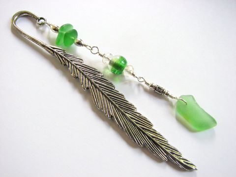 Beaded,Sea,Glass,Bookmark,on,Silver,Feather,,Book,Lover,Gift,Idea,silver feather book mark, page marker, bookmark, book accessory, sea glass, seaglass, green, beads, beaded,ocean, nautical, book lover, teacher gift reader librarian, wire wrapped, handmade, crafted, unique, shepards hook, beach glass