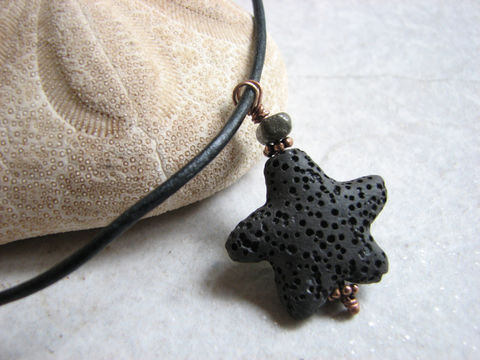 Black,Lava,Starfish,Necklace,for,Men,mens lava necklace, man stone necklace, black lava, lava starfish, stone starfish, black starfish, star fish necklace, starfish pendant, black jewelry for men, mans gift, mans jewelry, mans ocean jewelry, lava stone pendant, pumice stone necklace, aromath