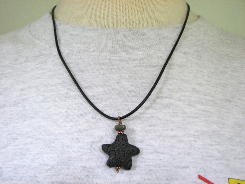 Black Lava Starfish Necklace for Men - product images  of
