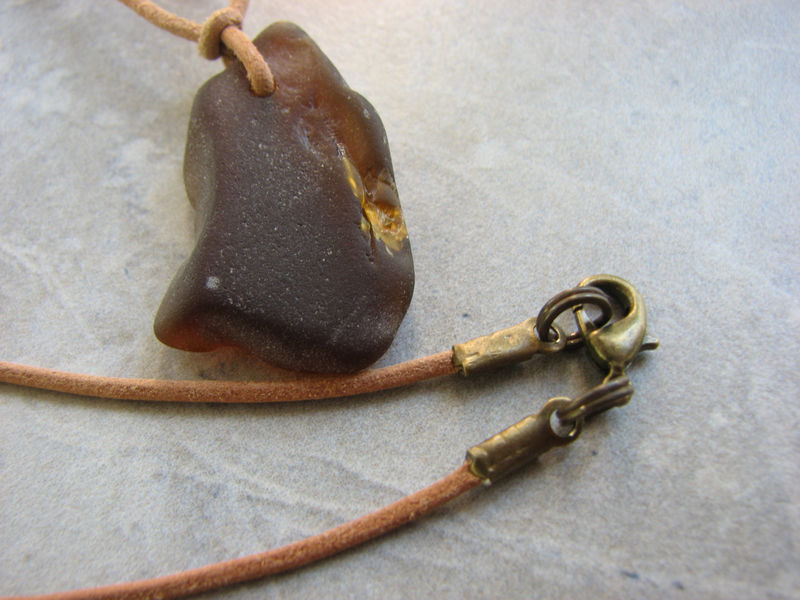 Mens Sea Glass Necklace on Leather, Beer Bottle Brown  - product images  of
