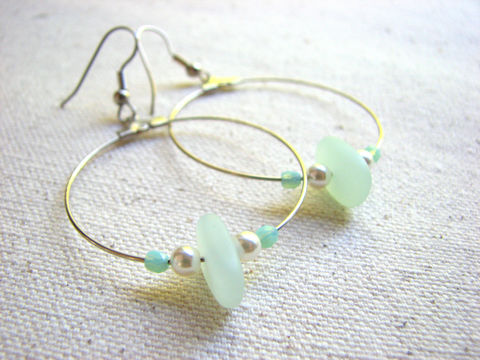 Seafoam,Sea,Glass,Hoop,Dangle,Earrings,dangle hoop earrings, sea glass hoops, pearls, beaded, seafoam green, beach, ocean, bohomian, boho, casual, long, big, dangling, silver