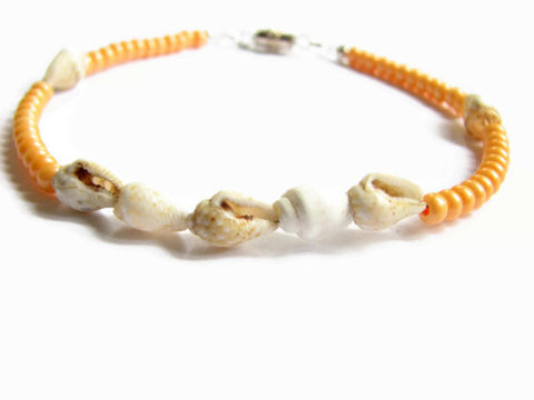 Sea,Shell,Ankle,Bracelet,,Orange,Halloween, Fall, Autumn, sea shell ankle bracelet, seashell ankle bracelet, sea shell anklet, seashell anklet, orange shell anklet, orange ankle bracelet, beach anklet, ocean ankle bracelet, vacation jewelry, shell ankle bracelet, anklet design, orange an