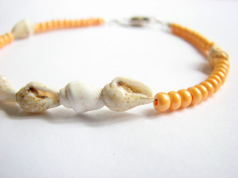 Sea Shell Ankle Bracelet, Orange - product images  of