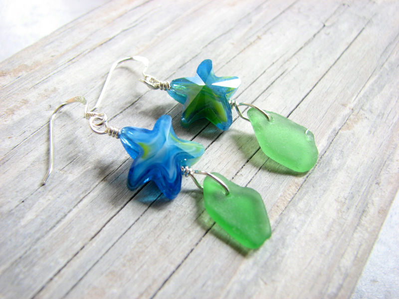 Glass Starfish Jewelry, Genuine Sea Glass Earrings in Green,  - product images  of