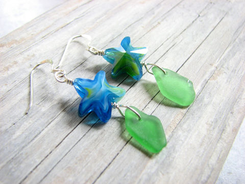 Glass,Starfish,Jewelry,,Genuine,Sea,Earrings,in,Green,,starfish, sea star, sea life, ocean, nautical, glass, sea glass, beach glass, seaglass, jewelry, earrings, dangle, long, whimiscal, fashionable, sterling silver, french hook