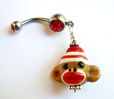 Christmas,Sock,Monkey,Belly,Button,Ring,Christmas belly button, glass monkey jewelry, sock monkey jewelry, nostalgic toy jewelry, monkey belly, dangle belly bar, christmas belly rings, fun belly button piercing, lamp work monkey bead, belly button jewelry, bellybutton rings, navel, body jewelry